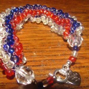 Red, White, & Blue Beaded Bracelet