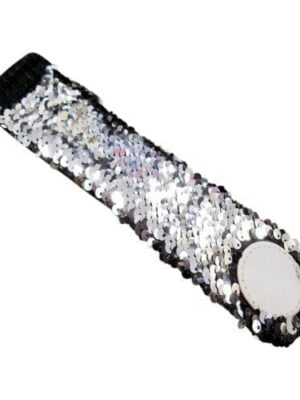 The Coral Palms® Mermaid Medallion Sequin Cuff Bracelet - BLACK/SILVER - CLOSEOUT