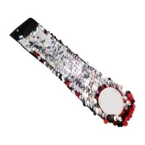 The Coral Palms® Mermaid Medallion Sequin Cuff Bracelet - RED/SILVER - CLOSEOUT