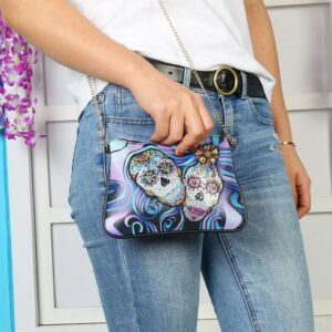 Skull Crystal Rhinestone Handbag Leather Zippered Pouch with Removable Chain