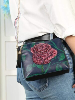 Rose Crystal Rhinestone Handbag Leather Zippered Pouch with Removable Chain
