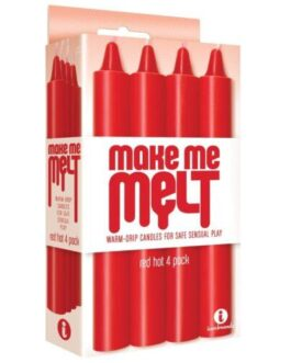The 9's Make Me Melt Sensual Warm Drip Candles – Red Hot Pack of 4