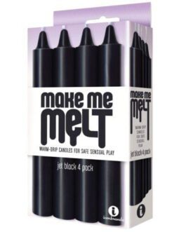 The 9's Make Me Melt Sensual Warm Drip Candles – Jet Black Pack of 4